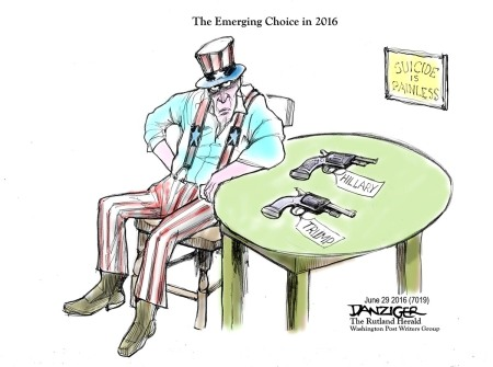 Uncle Sam, 2016 presidential race, Trump, Hillary, political cartoon